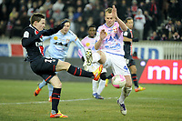 FOOTBALL - FRENCH CHAMPIONSHIP 2011/2012 - L1 - PARIS SAINT GERMAIN v EVIAN TG - 4/02/2012 - PHOTO JEAN MARIE HERVIO / REGAMEDIA / DPPI - GOAL KEVIN GAMEIRO (PSG) / OLIVIER SORLIN (ETG)