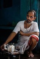 VARANASI, INDIA - CIRCA NOVEMBER 2016: Portrait of Chai Tea seller in Varanasi of Old Varanasi.