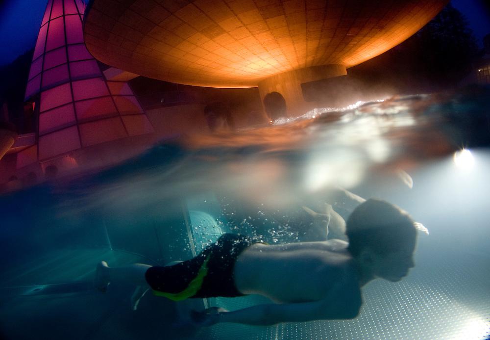 The Aqua Dome at night time
