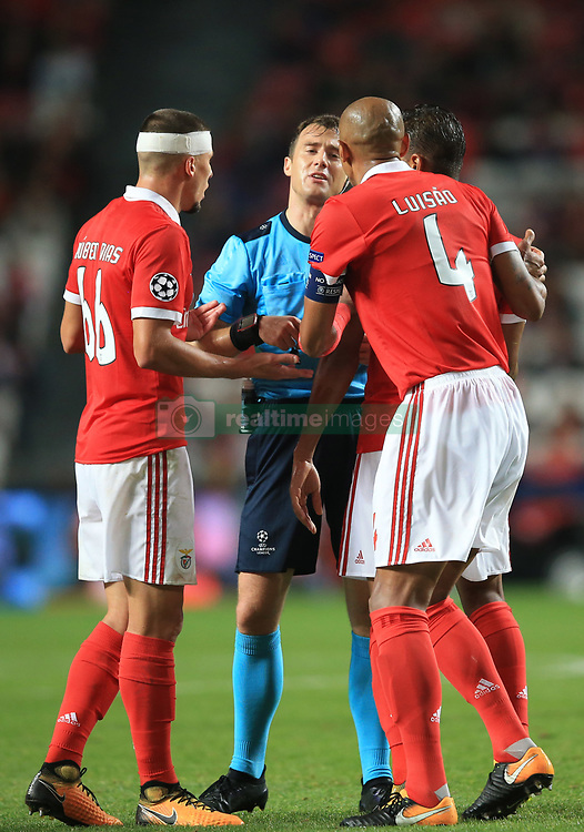 18 October 2017 -  UEFA Champions League - (Group A) - SL Benfica v Manchester United - Luisao of Benfica appeals to Referee Felix Zwayer as he is sent off - Photo: Marc Atkins/Offside