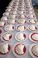 Rows of deserts ready for a May Day wine country celebration