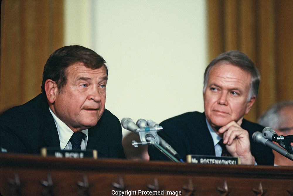 Representative Daniel Rostenkowski and Robert Packwood  joint Senate and House Tax Reform hearing in the Ways and Means Committee  room in the Longworth House Office Builoding in July 1986.<br />Photo by Dennis Brack