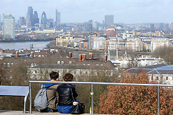 © Licensed to London News Pictures. 04/03/2017<br /> View across London from Greenwich Park.<br />  A bright spring day at Greenwich Park,Greenwich,London.<br /> Photo credit :Grant Falvey/LNP