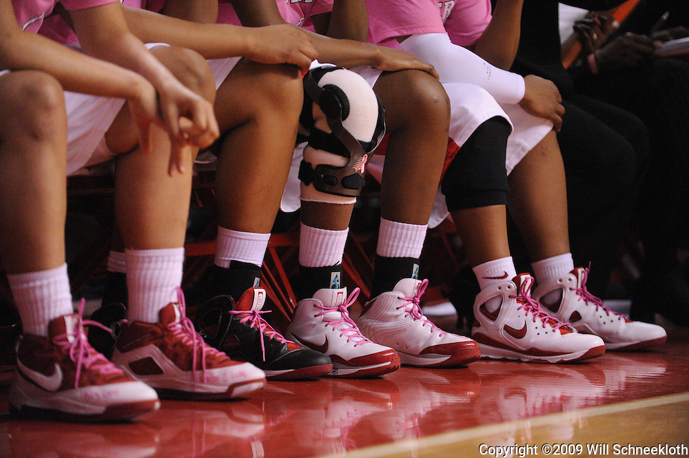 """Feb 10, 2009; Piscataway, NJ, USA; Most Rutgers players wore pink shoe laces and tee shirts on """"Think Pink"""" night, a breast cancer awareness event as #19 Pittsburgh defeats Rutgers 61-53 in Women's College Basketball at the Louis Brown Athletic Center."""