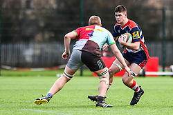 George Brazier of Bristol Academy U18 is tackled by Hugh Tizard of Harlequins Academy U18 - Mandatory by-line: Craig Thomas/JMP - 03/02/2018 - RUGBY - SGS Wise Campus - Bristol, England - Bristol U18 v Harlequins U18 - Premiership U18 League