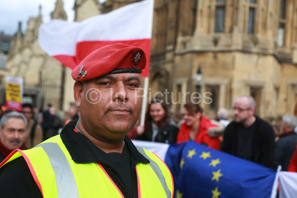 Andreas Hawke Schoyen, a Dane living in Tooting and member of the the Guardian Angels waiting to see his MP February 20th 2017, London, United Kingdom.  1 Day without Us is a nationwide protest to highlight that EU citizens in the UK feel like bagaining chips in the Brexit negotiantions, used by the Uk government. Feb 2th saw hundreds of EU citizens gatherin Parliamnet square to go and lobby their respective MPs to safe guard their right to stay in Britain post Brexit.