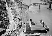 Ackroyd 02222-3. New highway construction at east end of Broadway Bridge. May 25, 1950.