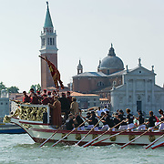 VENICE, ITALY - JUNE 05:  General view of the Sensa procession in Bacino St Mark on June 5, 2011 in Venice, Italy. The festival  of la Sensa is held in May the Sunday after Ascension Day  following the traditional ceremony where the doge enacted the wedding of Venice to the sea. The ritual has recently been revived,  (Photo by Marco Secchi/Getty Images)