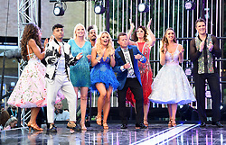 Karim Zeroual, Anneka Rice, Dev Griffin, Saffron Barker, Mike Bushell, Emma Barton, Catherine Tyldesley and James Cracknell attending the Strictly Come Dancing Launch at the TV Centre, London
