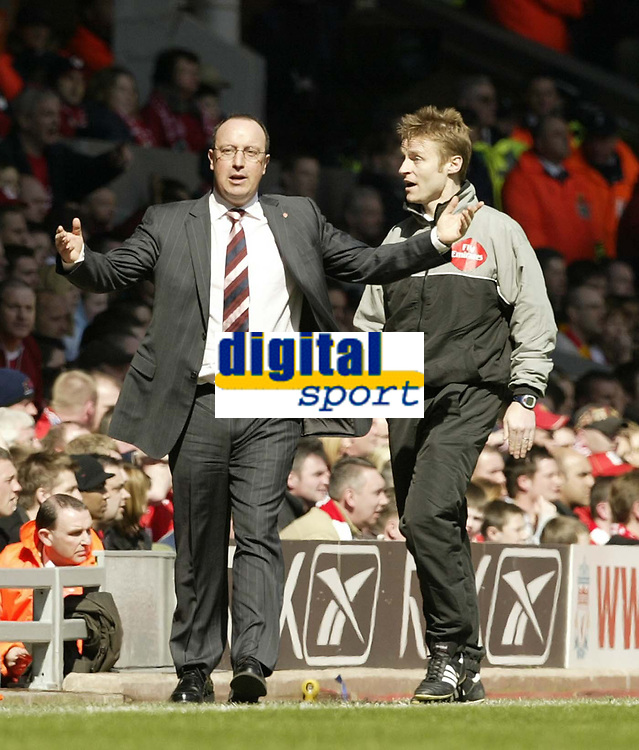 Photo: Aidan Ellis.<br /> Liverpool v Bolton Wanderers. The Barclays Premiership. 09/04/2006.<br /> Raphael Benitez cant believe the lines man gives offside from a throw in