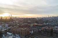 A scenic view of Manhattan taken from a drone hovering over Brooklyn.