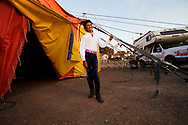 Angel Perez, 14, waits outside the big top between performances on Saturday, June 14, 2008 in downtown Antioch, California. The American Crown Circus/Circo Osorio performed in Antioch.  (Photo by Kevin Bartram)