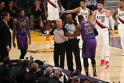 November 14, 2018 - Los Angeles, CA, U.S. - LOS ANGELES, CA - NOVEMBER 14: Los Angeles Lakers Forward LeBron James (23) arguing a call during the Portland Trail Blazers versus the Los Angles Lakers game on November 14, 2018, at Staples Center in Los Angeles, CA. (Photo by Icon Sportswire) (Credit Image: © Jevone Moore/Icon SMI via ZUMA Press)