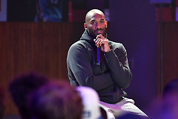 Kobe Bryant Dies In Helicopter Crash ---- Former NBA star Kobe Bryant gives a 'Mamba talk' as they reflect on their NBA memories at 'Le Quartier' renovated gymnasium dedicated to basketball games and culture on October 21, 2017 in Paris, France. The promotional event was organized by the sports brand Nike, for the inauguration of the infrastructure improvements of a local basketball playground at the Jean-Jaures sports hall Le Quartier. Photo by Laurent Zabulon/ABACAPRESS.COM