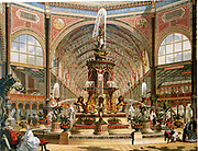 Interior of the Crystal Palace during the International Exhibition of 1862. Majolica fountain by Minton. Chromolithograph.