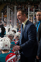KELOWNA, CANADA - DECEMBER 27: Kelowna Rockets' head coach Jason Smith stands on the bench and goes over a play during a time out against the Kamloops Blazers on December 27, 2017 at Prospera Place in Kelowna, British Columbia, Canada.  (Photo by Marissa Baecker/Shoot the Breeze)  *** Local Caption ***