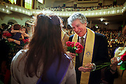 SHOT 5/10/15 3:38:25 PM - Naropa University Spring 2015 Commencement ceremonies at Macky Auditorium in Boulder, Co. Sunday. Parker J. Palmer, a world-renowned author and activist known for his work in education and social change, delivered the commencement speech to more than 300 graduate and undergraduate students along with Naropa faculty and graduate's family members. Naropa University is a private liberal arts college in Boulder, Colorado founded in 1974 by Tibetan Buddhist teacher and Oxford University scholar Chögyam Trungpa. (Photo by Marc Piscotty / © 2014)