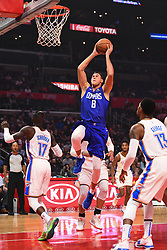 October 19, 2018 - Los Angeles, CA, U.S. - LOS ANGELES, CA - OCTOBER 19: Los Angeles Clippers Forward Danilo Gallinari (8) goes up for a dunk during a NBA game between the Oklahoma City Thunder and the Los Angeles Clippers on October 19, 2018 at STAPLES Center in Los Angeles, CA. (Credit Image: © Brian Rothmuller/Icon SMI via ZUMA Press)