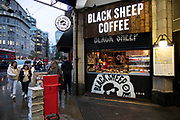 Black Sheep Coffee hatch at Aldgate station on 26th November 2019 in London, England, United Kingdom. Black Sheep Coffee is a London-based coffee chain, which grew from a stall in North London to became a business worth over £100 million in only a few years without using any single-use plastics for their own products.