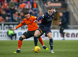 Dundee United's Charlie Seaman and Falkirk's Deimantas Petravicius. hafl time : Falkirk 0 v 0 Dundee United, Scottish Championship game played 23/2/2019 at The Falkirk Stadium.