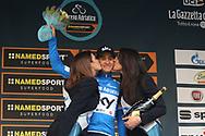 Podium Michal Kwiatkowski, blue leader jersey during the UCI World Tour, Tirreno-Adriatico 2018, Stage 5, Castelraimondo to Filottrano, in Italy, on March 11, 2018 - Photo Laurent Lairys / ProSportsImages / DPPI