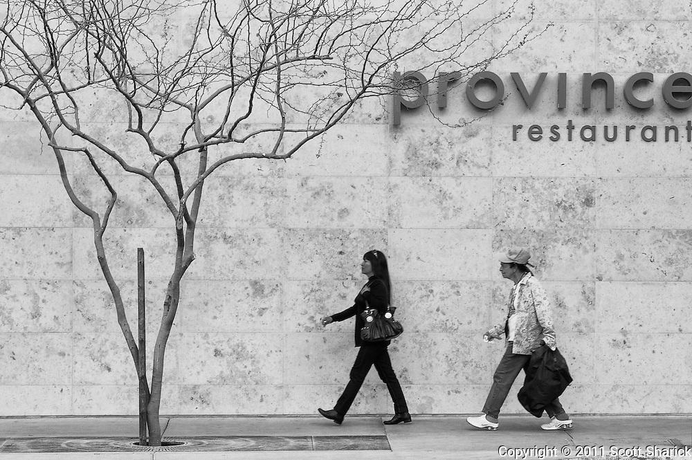 Walking along the street in downtown Phoenix.