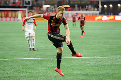 March 11, 2018 - Atlanta, GA, U.S. - ATLANTA, GA Ð MARCH 11:  Atlanta United's Julian Gressel (24) takes a shot during the match between DC United and Atlanta United on March 11, 2018 at Mercedes-Benz Stadium in Atlanta, GA.  Atlanta United FC defeated DC United by a score of 3 - 1.  (Photo by Rich von Biberstein/Icon Sportswire) (Credit Image: © Rich Von Biberstein/Icon SMI via ZUMA Press)