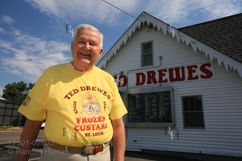 Ted Drewes poses outside his famous hometown frozen custard landmark on Route 66; St. Louis, Missouri.