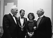 People Of The Year Awards.  (R91)..1988..22.11.1988..11.22.1988..22nd November 1988..This is the fourteenth year of the People of the Year Awards, sponsored by the New Ireland Assurance Company plc. The awards will be presented by Mr Ray Burke TD, Minister of Energy and Communications. Eight people have been nominated this year..Mr Ollie Jennings, for his contribution to community and cultural life of Galway City..Mr Jack Charlton, for restoration of pride to the Irish Soccer team..Ms Carmencita Hederman, For her efforts to instill a community spirit in Dublin..Maureen O'Mahony, for her dedication in assisting the sick and elderly in the Bantry area..Mr Tommy Boyle, for his contribution in having the Garda band ranked as one of the top bands in the world..Ms Alice Leahy, for a lifetime commitment in providing medical care to the Dublin Homeless..Ms Norma Smurfitt, for her voluntary contribution to the work of the Arthritis Foundation Of ireland..Mr Gordon Wilson, for his commitment to peace and reconcilliation in Northern Ireland...Pictured at this years awards were Mr Tommy Boyle, Mr Sean Haughey, Deputy Lord Mayor, Ms Orla O'Brien and Dr Donal Caird, Archbishop of Dublin.