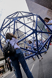 August 13, 2017 - Sao Paulo, Brazil - People interact with geometric structures, the action is promoted by Design Weekend which is an urban festival that aims to promote the design culture and its connections with architecture, art, decoration, urbanism, social inclusion, business and technological innovation in Paulista Avenue (Credit Image: © Dario Oliveira via ZUMA Wire)