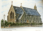 Randon Images of postcard drawings from Ireland, old chapel, raheny, Old amateur photos of Dublin streets churches, cars, lanes, roads, shops schools, hospitals