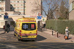 An ambulance comes to the emergency area of the Ramon y Cajal Hospital during the health crisis due to the Covid-19 virus pandemic - Coronavirus. March 15,2020. Photo by Jesus Anton JAM/AlterPhotos/ABACAPRESS.COM