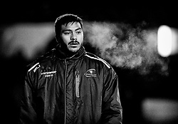 Connacht's Pita Ahki keeps warm<br /> <br /> Photographer Simon King/Replay Images<br /> <br /> Guinness Pro14 Round 9 - Cardiff Blues v Connacht Rugby - Friday 24th November 2017 - Cardiff Arms Park - Cardiff<br /> <br /> World Copyright © 2017 Replay Images. All rights reserved. info@replayimages.co.uk - www.replayimages.co.uk