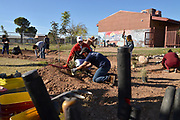 Tucson, Arizona, USA; November 17, 2018; Students, nonprofit and grassroots organizations construct green infrastucture that will capture storm water to water trees they are planting to improve the landscape at STAR Academic High School in the Sunnyside School District on Tucson's south side.  University of Arizona students, Alec Kelly-Jones, 24, (left), and Isaac Palomo, 23, plant trees.  PHOTO CREDIT: Norma Jean Gargasz