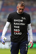 Allan McGregor (Rangers) wears the anti-racism t-shirt during warm up during the Scottish Premiership match between Rangers and Livingston at Ibrox, Glasgow, Scotland on 25 October 2020.