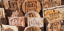 Detail of tourist souvenir plates at Petra, Jordan