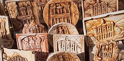 Detail of tourist souvenir plates at Petra, Jordan