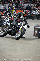 Hooligan Dave Kilkenny on his 1993 HD Sportster races into turn one at the Flat Out Friday flat track racing on the Dr. Pepper-covered track in the UW-Milwaukee Panther Arena during the Harley-Davidson 115th Anniversary Celebration event. Milwaukee, WI. USA. Friday August 31, 2018. Photography ©2018 Michael Lichter.