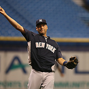 New York Yankees shortstop Derek Jeter (2) warms up prior to a major league baseball game between the New York Yankees and the Tampa Bay Rays at Tropicana Field on Thursday, Sept. 17, 2014 in St. Petersburg, Florida. (AP Photo/Alex Menendez)