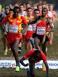 08-12-2013 ATHLETICS: SPAR EC CROSS COUNTRY: BELGRADE<br /> Senior mannen / (L-R) Winnaar BEZABEH, Alemayehu SPA en zilver voor ARIKAN, Polat Kemboi TUR die in de eerste ronde onderuit gaat. ABDI, Bashir en Khalid Choukoud kunnen hem net ontwijken<br /> ©2013-WWW.FOTOHOOGENDOORN.NL