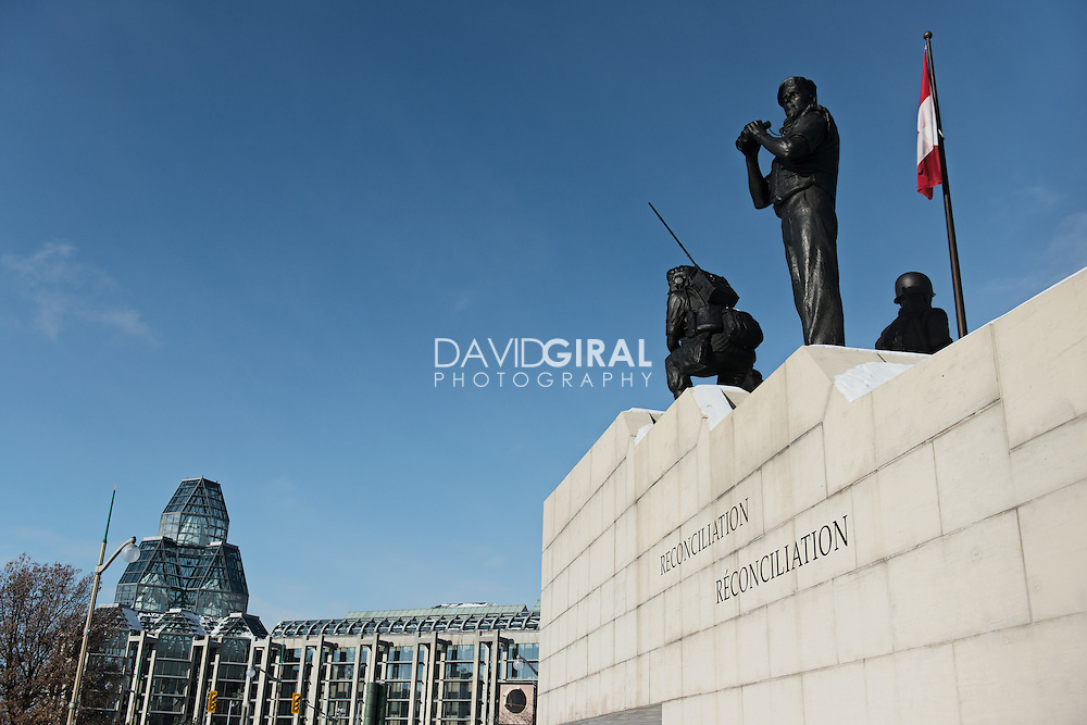 The Three Watchmen Landmark (by Chief James Hart) with National Galleryin the Background; Ottawa