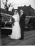 18/02/1957<br /> 02/18/1957<br /> 18 February 1957<br /> Wedding Dr K. Murphy and J. Fitzgerald at St. Mary's Church, Haddington Road and reception at Salthill Hotel, Monkstown. Bride and Groom  getting into the car.