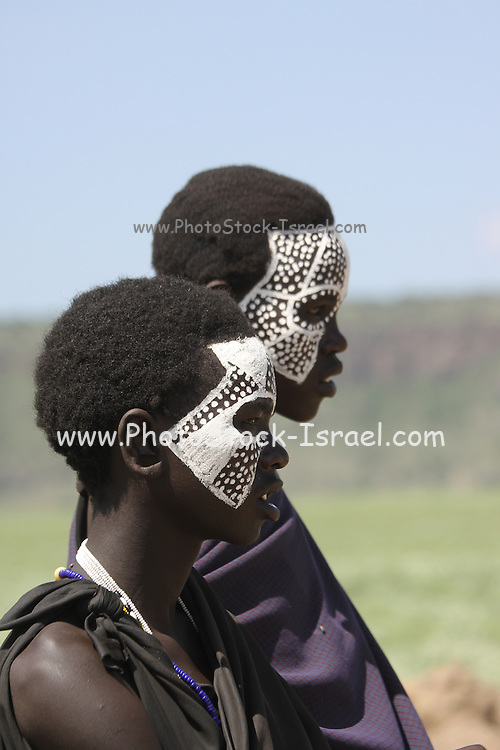 """Tanzania, Masai coming of age ceremony. This young male members are being initiated as warriors """"Moran""""."""