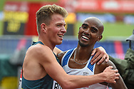 Mo Farah of Great Britain wins the  Men's 3000m and celebrates with Andrew Butchart of Great Britain during the Muller Grand Prix Birmingham 2017 at the Alexander Stadium, Birmingham, United Kingdom on 20 August 2017. Photo by Martin Cole.