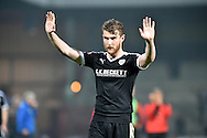 Sam Winnall of Barnsley FC apeeals to barnsley supporters at end of match during the Sky Bet League 1 match between Scunthorpe United and Barnsley at Glanford Park, Scunthorpe, England on 31 October 2015. Photo by Ian Lyall.