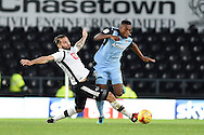 Rotherham United defender Darnell Fisher (17) battles for possession with Derby County midfielder Bradley Johnson (15) during the EFL Sky Bet Championship match between Derby County and Rotherham United at the iPro Stadium, Derby, England on 19 November 2016. Photo by Jon Hobley.