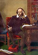 Colour portrait of William Shakespeare (1564-1616) (English playright) circa 19th Century