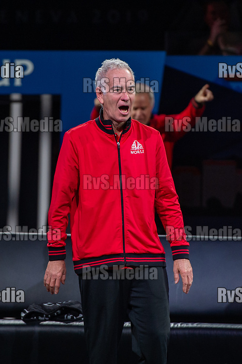 GENEVA, SWITZERLAND - SEPTEMBER 20: John McEnroe, Captain of Team World reacts after a point  during Day 1 of the Laver Cup 2019 at Palexpo on September 20, 2019 in Geneva, Switzerland. The Laver Cup will see six players from the rest of the World competing against their counterparts from Europe. Team World is captained by John McEnroe and Team Europe is captained by Bjorn Borg. The tournament runs from September 20-22. (Photo by Monika Majer/RvS.Media)