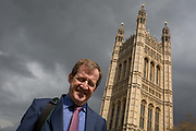 On the day that Prime Minister Theresa May meets with Labour leader Jeremy Corbyn in an attempt to break the Brexit deadlock in parliament, a portrait of Labour activist and former Tony Blair aide, Alastair Campbell beneath Parliament, on 3rd April 2019, in London, England.