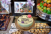Cakes, sweets and pastries in shop window of luxury patticeria, caffe sweet shop Gilli, established in 1733 in Florence, Tuscany, Italy